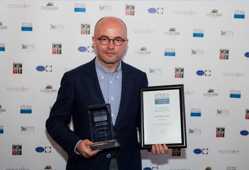 Laurent Delaunay accepts the Award on behalf of Pure Petit Verdot