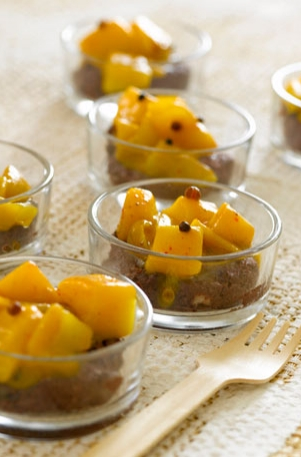 Creole Black Pudding with Peppered Mango Cubes
